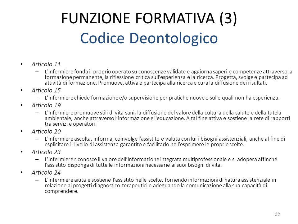 FUNZIONE FORMATIVA (3) Codice Deontologico Articolo 11 – L'infermiere fonda il proprio operato su conoscenze validate e aggiorna saperi e competenze a