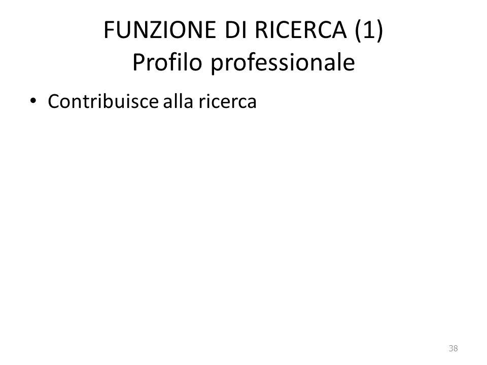 FUNZIONE DI RICERCA (1) Profilo professionale Contribuisce alla ricerca 38