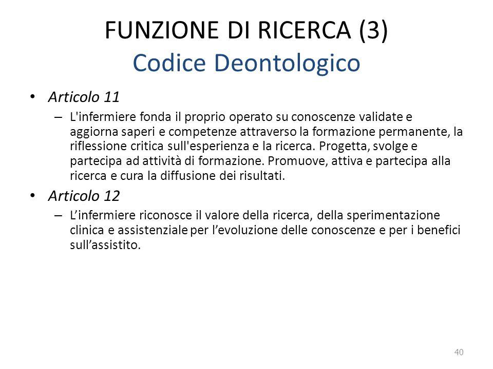 FUNZIONE DI RICERCA (3) Codice Deontologico Articolo 11 – L'infermiere fonda il proprio operato su conoscenze validate e aggiorna saperi e competenze