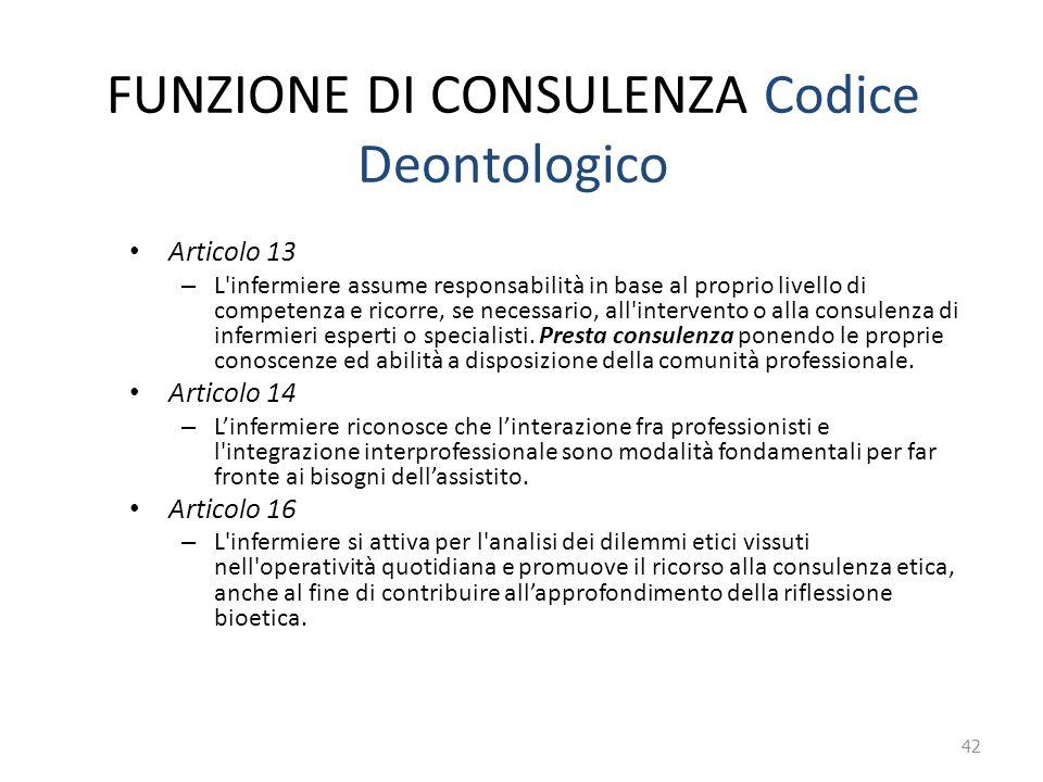 FUNZIONE DI CONSULENZA Codice Deontologico Articolo 13 – L'infermiere assume responsabilità in base al proprio livello di competenza e ricorre, se nec