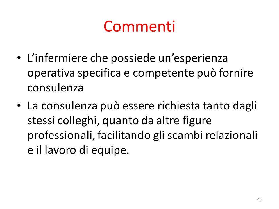 Commenti L'infermiere che possiede un'esperienza operativa specifica e competente può fornire consulenza La consulenza può essere richiesta tanto dagl