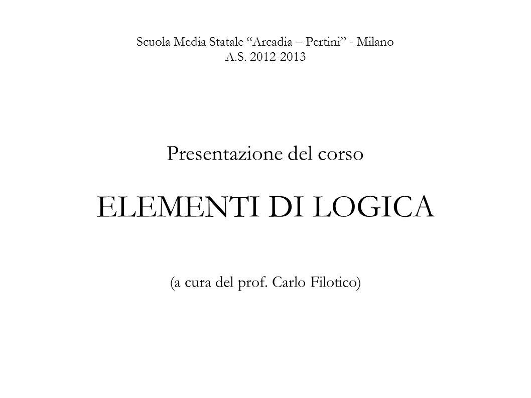 """Scuola Media Statale """"Arcadia – Pertini"""" - Milano A.S. 2012-2013 Presentazione del corso ELEMENTI DI LOGICA (a cura del prof. Carlo Filotico)"""