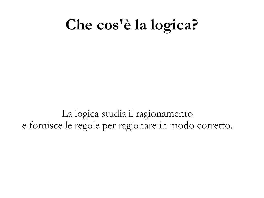 Che cos'è la logica? La logica studia il ragionamento e fornisce le regole per ragionare in modo corretto.