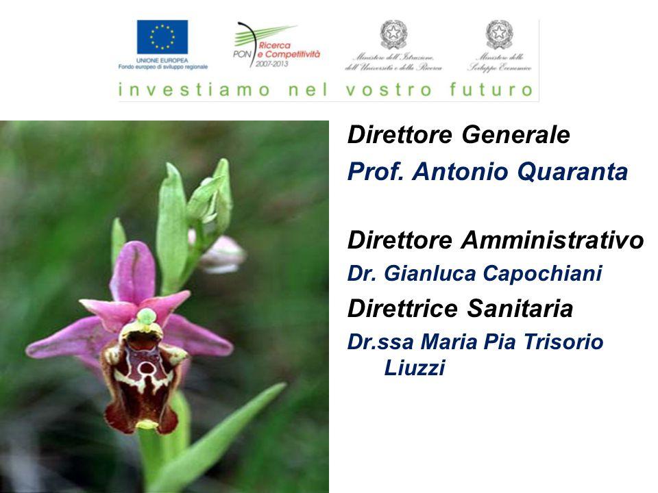 Direttore Generale Prof. Antonio Quaranta Direttore Amministrativo Dr. Gianluca Capochiani Direttrice Sanitaria Dr.ssa Maria Pia Trisorio Liuzzi