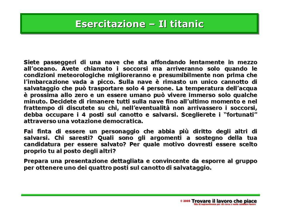 Esercitazione – Il titanic Siete passeggeri di una nave che sta affondando lentamente in mezzo all'oceano.