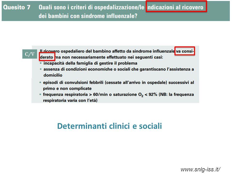 www.snlg-iss.it/ Determinanti clinici e sociali