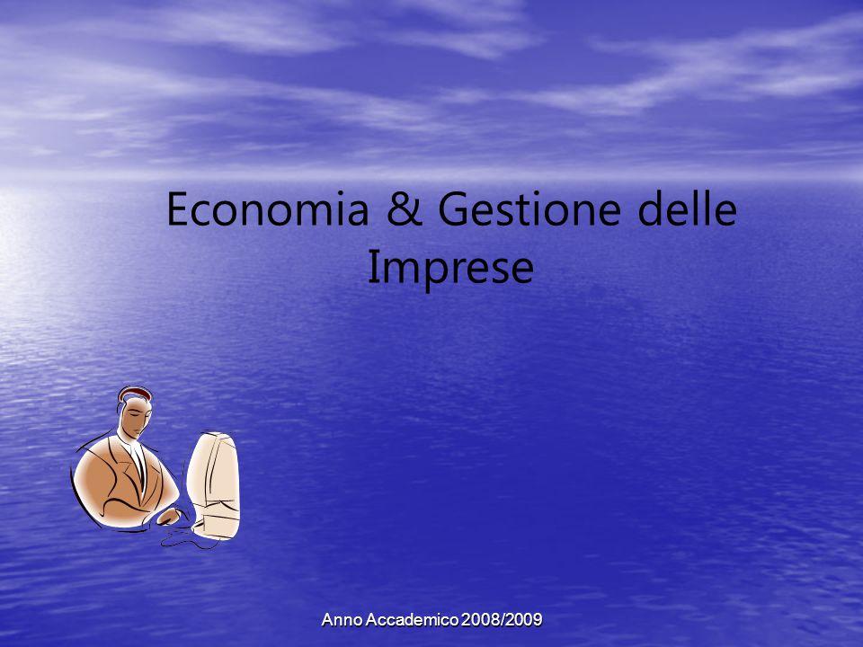 Anno Accademico 2008/2009 Economia & Gestione delle Imprese