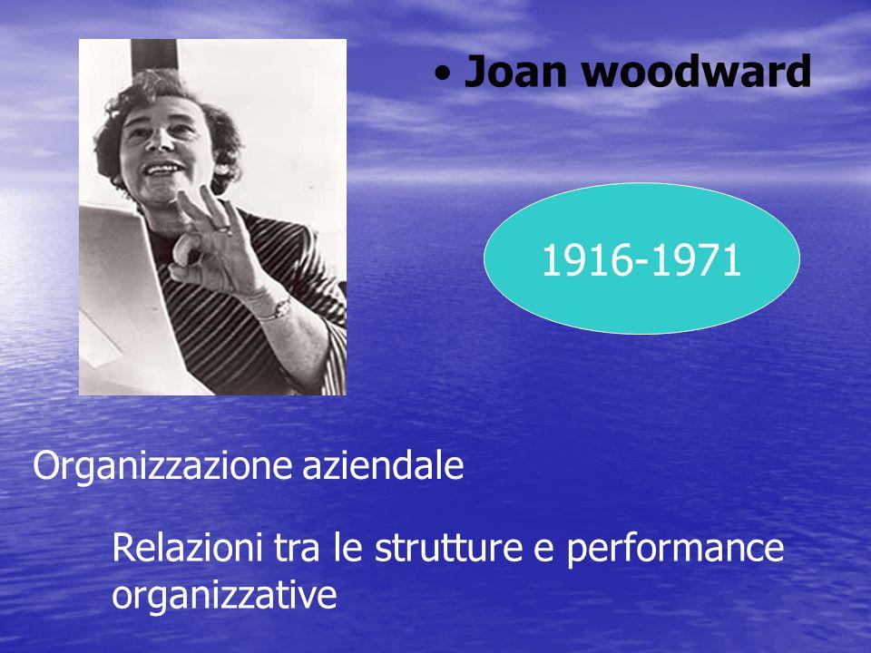 Joan woodward 1916-1971 Organizzazione aziendale Relazioni tra le strutture e performance organizzative