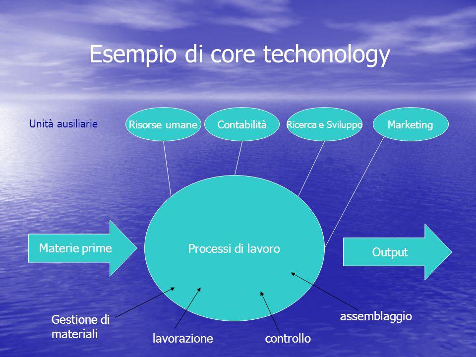 Esempio di core techonology Risorse umane Unità ausiliarie Contabilità Ricerca e Sviluppo Marketing Materie prime Processi di lavoro Output Gestione di materiali lavorazionecontrollo assemblaggio