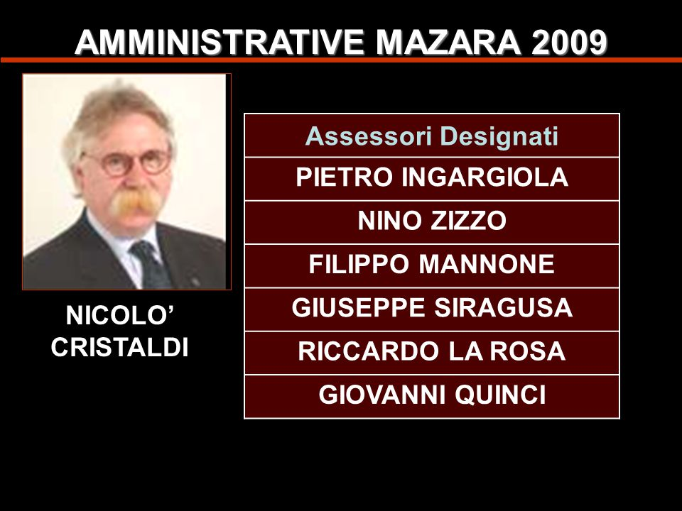 AMMINISTRATIVE MAZARA 2009 Domenico Luppino Pietro Ingargiola Nino Zizzo Salvatore Giammarinaro Francesco Di Liberti Josè S.