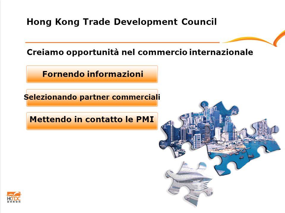 Creiamo opportunità nel commercio internazionale Fornendo informazioni Selezionando partner commerciali Mettendo in contatto le PMI Hong Kong Trade Development Council