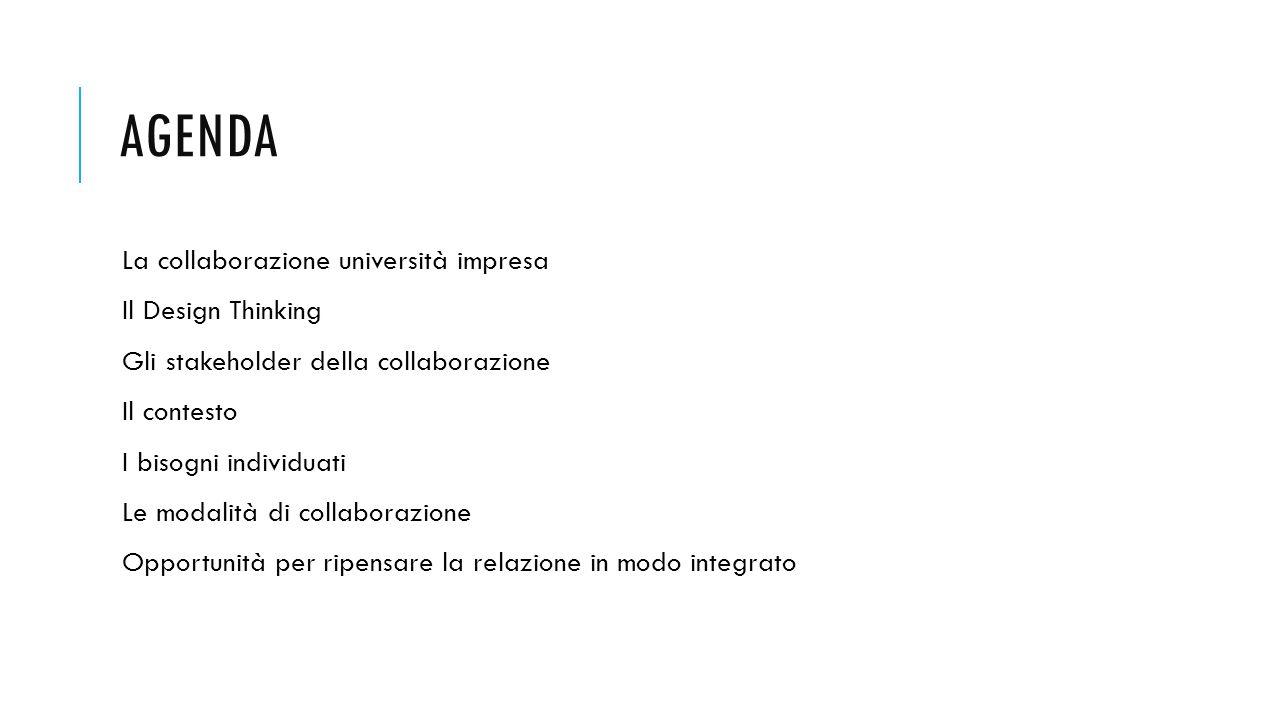 AGENDA La collaborazione università impresa Il Design Thinking Gli stakeholder della collaborazione Il contesto I bisogni individuati Le modalità di collaborazione Opportunità per ripensare la relazione in modo integrato