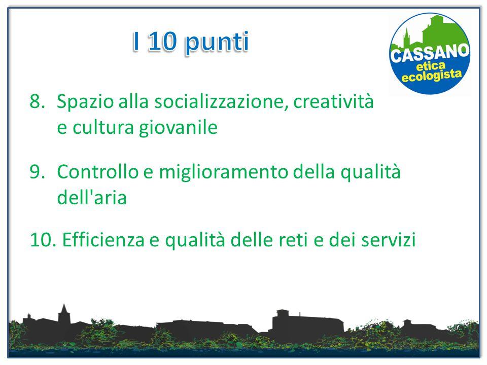 8.Spazio alla socializzazione, creatività e cultura giovanile 9.Controllo e miglioramento della qualità dell'aria 10. Efficienza e qualità delle reti