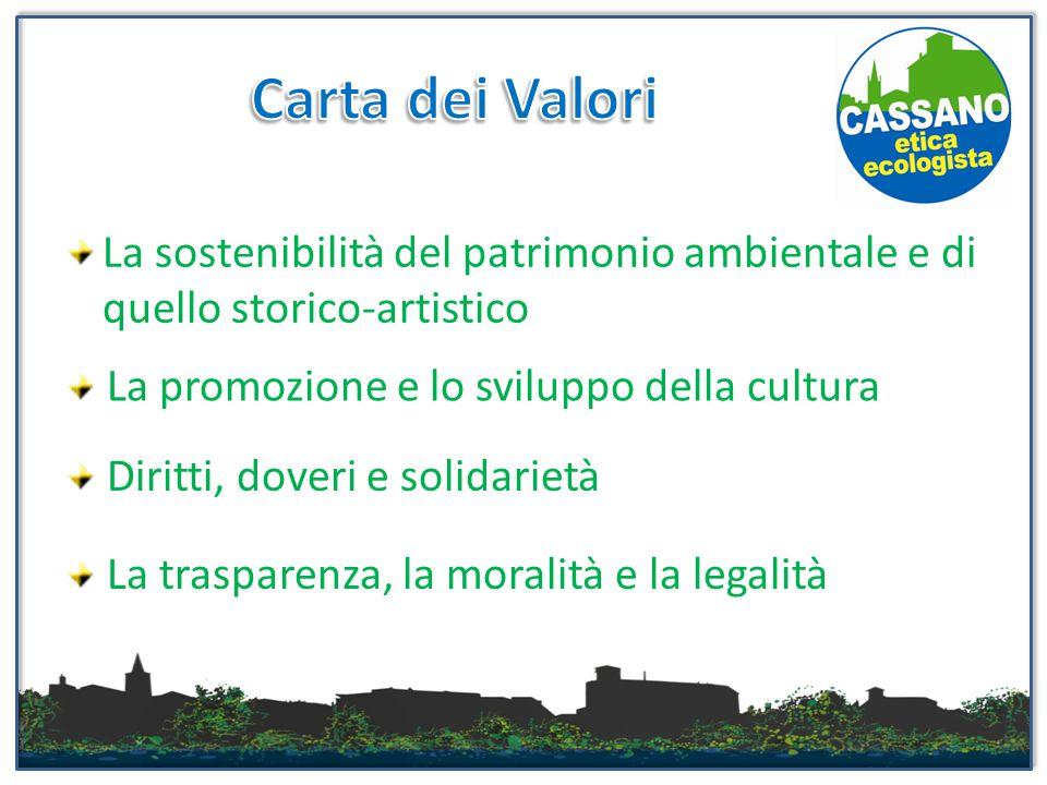 La sostenibilità del patrimonio ambientale e di quello storico-artistico La promozione e lo sviluppo della cultura Diritti, doveri e solidarietà La trasparenza, la moralità e la legalità