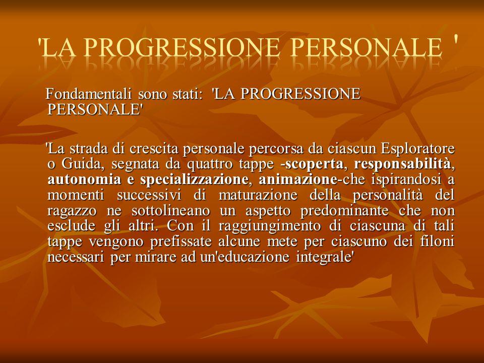 Fondamentali sono stati: 'LA PROGRESSIONE PERSONALE' Fondamentali sono stati: 'LA PROGRESSIONE PERSONALE' 'La strada di crescita personale percorsa da