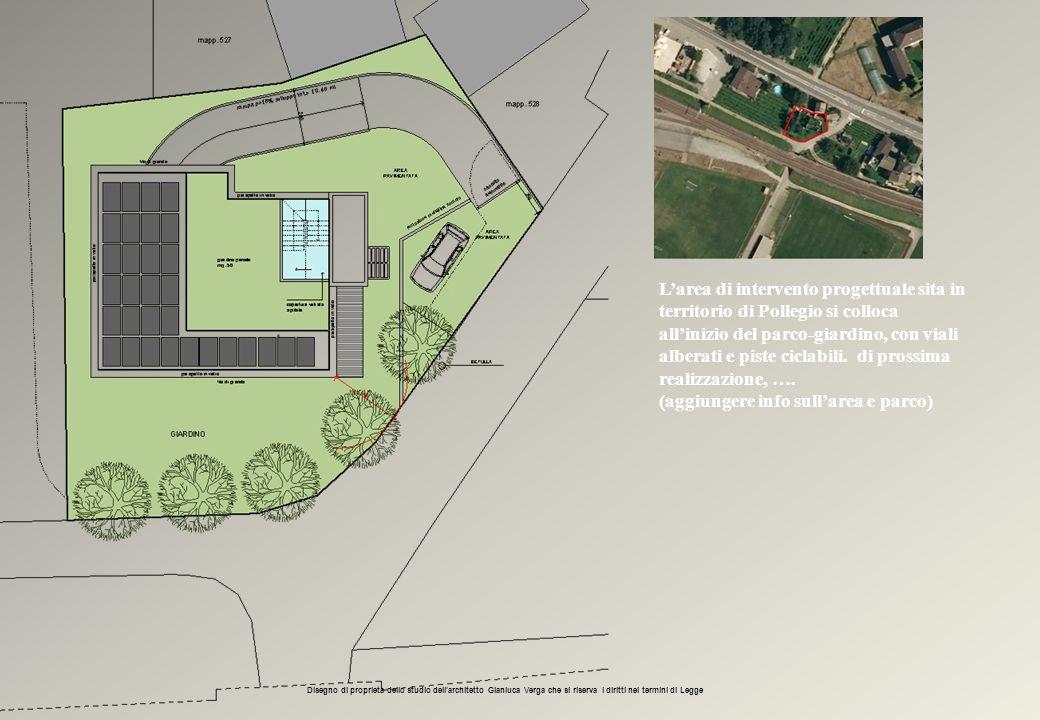 L'area di intervento progettuale sita in territorio di Pollegio si colloca all'inizio del parco-giardino, con viali alberati e piste ciclabili. di pro