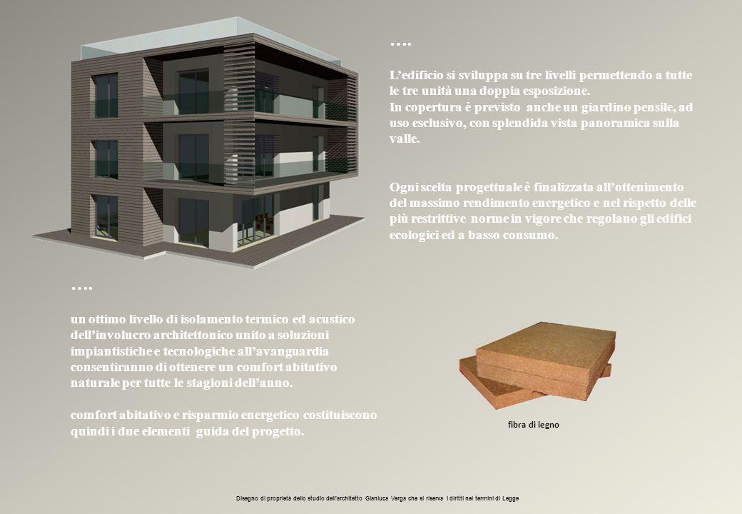 …. L'edificio si sviluppa su tre livelli permettendo a tutte le tre unità una doppia esposizione. In copertura è previsto anche un giardino pensile, a
