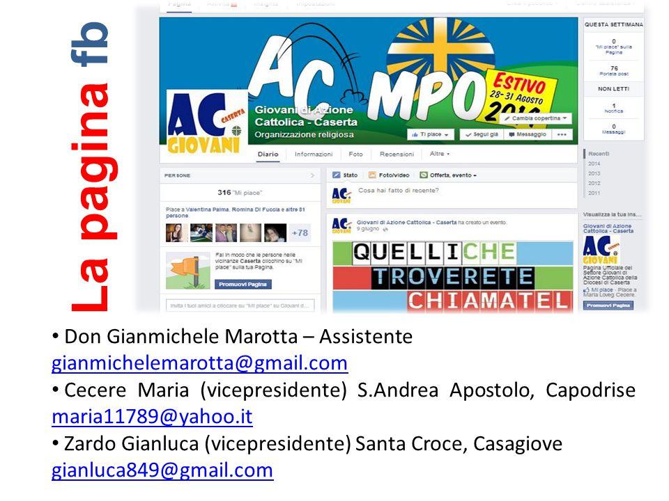 Don Gianmichele Marotta – Assistente gianmichelemarotta@gmail.com Cecere Maria (vicepresidente) S.Andrea Apostolo, Capodrise maria11789@yahoo.it maria