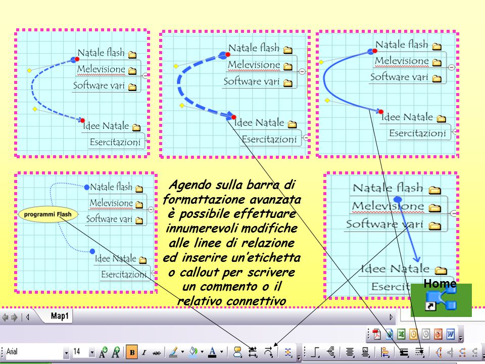 Agendo sulla barra di formattazione avanzata è possibile effettuare innumerevoli modifiche alle linee di relazione ed inserire un'etichetta o callout per scrivere un commento o il relativo connettivo Home