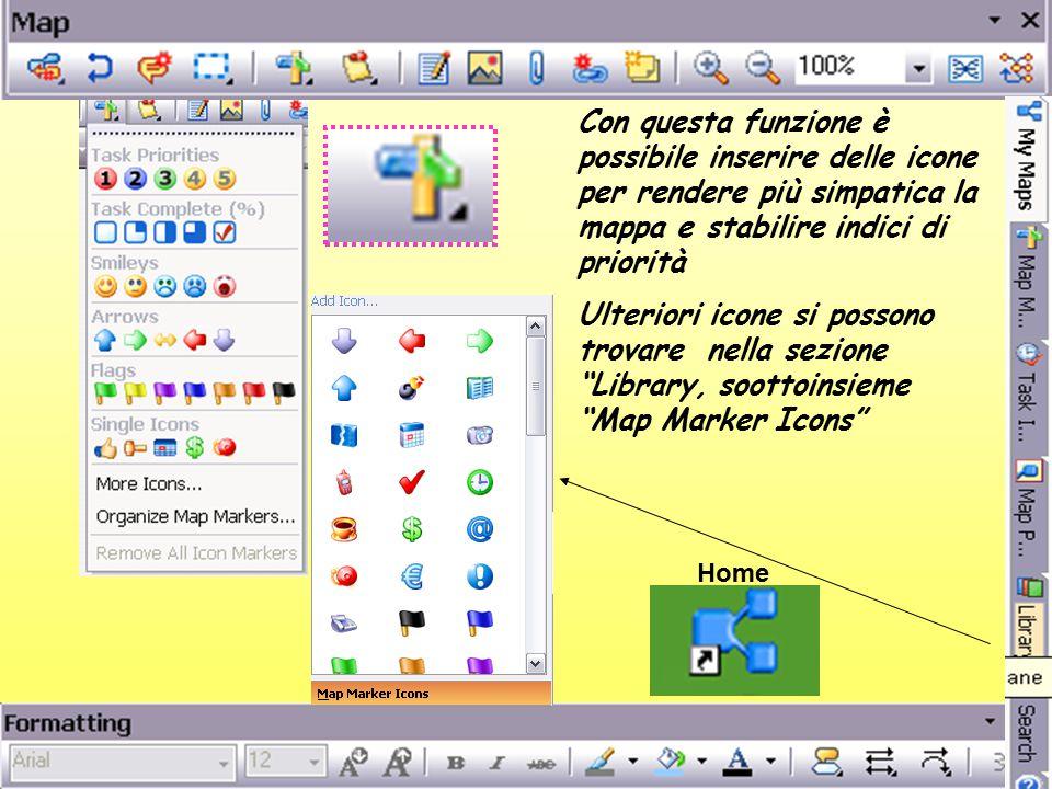 Con questa funzione è possibile inserire delle icone per rendere più simpatica la mappa e stabilire indici di priorità Ulteriori icone si possono trovare nella sezione Library, soottoinsieme Map Marker Icons