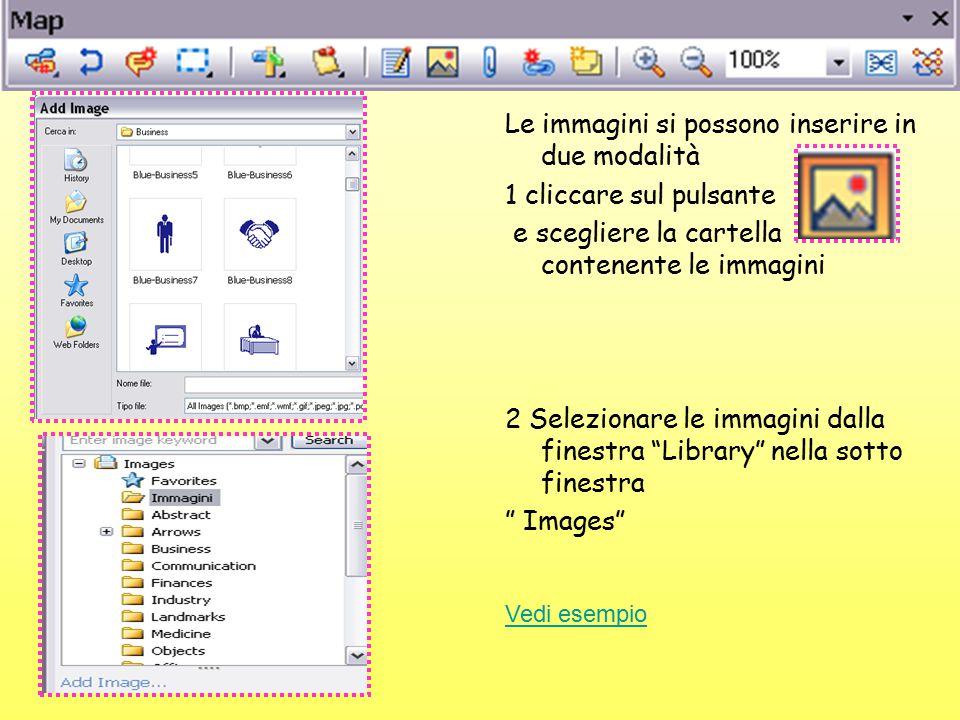 Le immagini si possono inserire in due modalità 1 cliccare sul pulsante e scegliere la cartella contenente le immagini 2 Selezionare le immagini dalla finestra Library nella sotto finestra Images Vedi esempio