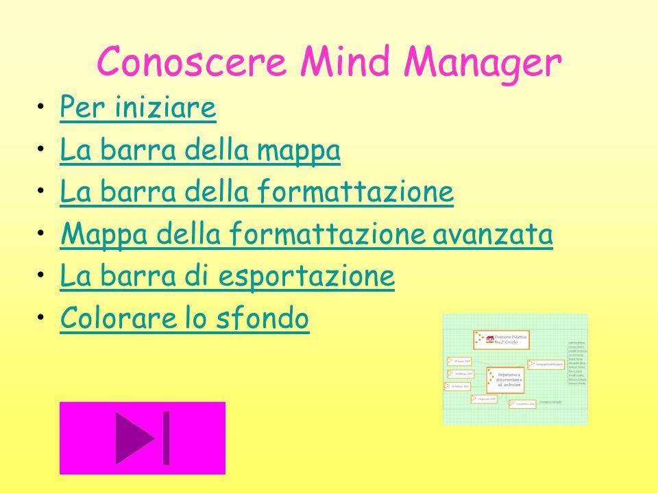 Conoscere Mind Manager Per iniziare La barra della mappa La barra della formattazione Mappa della formattazione avanzata La barra di esportazione Colo