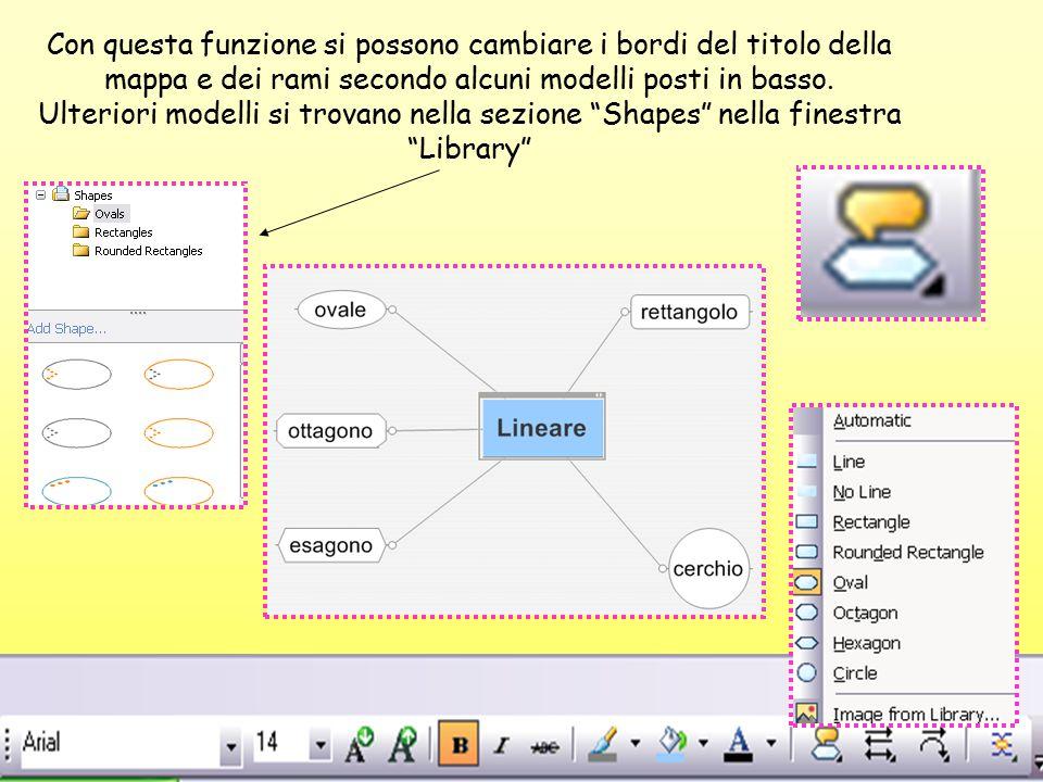 Con questa funzione si possono cambiare i bordi del titolo della mappa e dei rami secondo alcuni modelli posti in basso. Ulteriori modelli si trovano