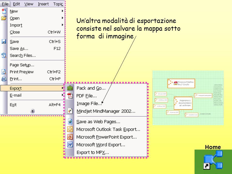 Un'altra modalità di esportazione consiste nel salvare la mappa sotto forma di immagine Home