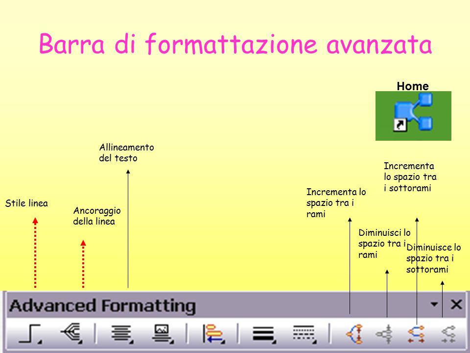 Barra di formattazione avanzata Stile linea Ancoraggio della linea Allineamento del testo Incrementa lo spazio tra i rami Diminuisci lo spazio tra i rami Incrementa lo spazio tra i sottorami Diminuisce lo spazio tra i sottorami Home