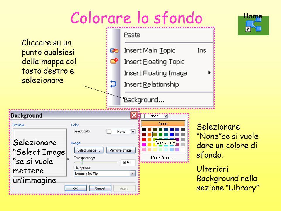 Colorare lo sfondo Cliccare su un punto qualsiasi della mappa col tasto destro e selezionare Selezionare Select Image se si vuole mettere un'immagine Selezionare None se si vuole dare un colore di sfondo.