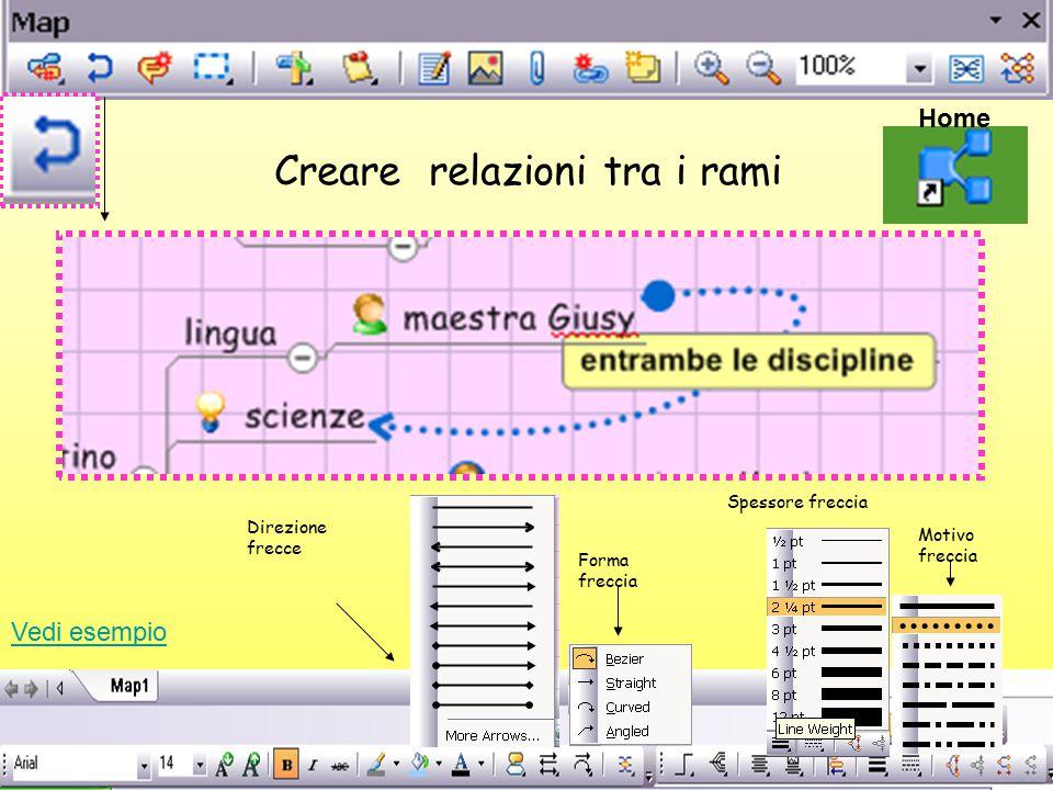 Creare relazioni tra i rami Home Direzione frecce Forma freccia Spessore freccia Motivo freccia Vedi esempio