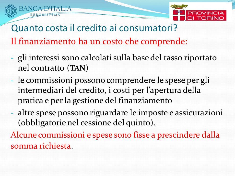 Quanto costa il credito ai consumatori? Il finanziamento ha un costo che comprende: - gli interessi sono calcolati sulla base del tasso riportato nel