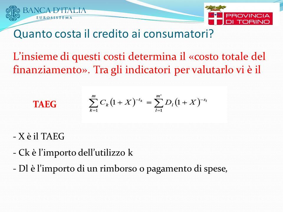 Quanto costa il credito ai consumatori? L'insieme di questi costi determina il «costo totale del finanziamento». Tra gli indicatori per valutarlo vi è