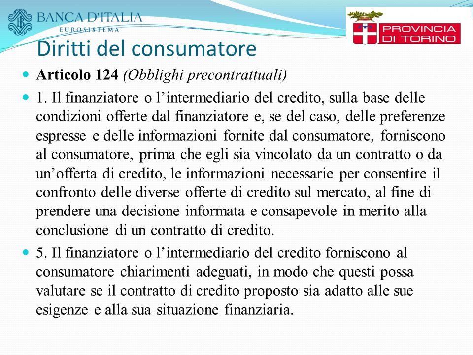 Diritti del consumatore Articolo 124 (Obblighi precontrattuali) 1. Il finanziatore o l'intermediario del credito, sulla base delle condizioni offerte