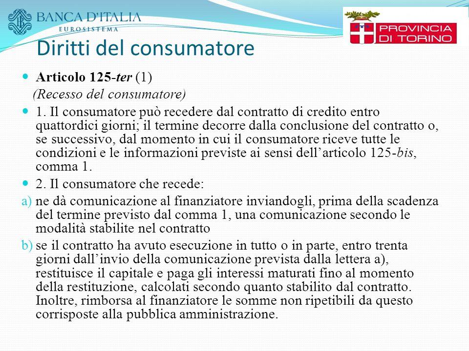 Diritti del consumatore Articolo 125-ter (1) (Recesso del consumatore) 1. Il consumatore può recedere dal contratto di credito entro quattordici giorn