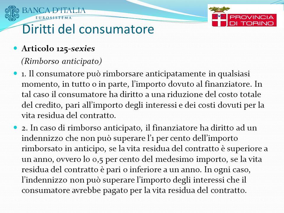 Diritti del consumatore Articolo 125-sexies (Rimborso anticipato) 1. Il consumatore può rimborsare anticipatamente in qualsiasi momento, in tutto o in