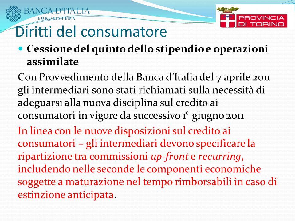 Diritti del consumatore Cessione del quinto dello stipendio e operazioni assimilate Con Provvedimento della Banca d'Italia del 7 aprile 2011 gli inter