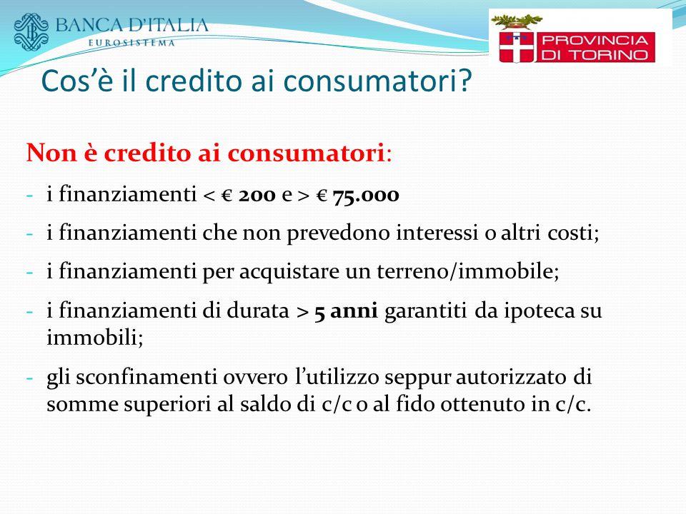 Cos'è il credito ai consumatori? Non è credito ai consumatori: - i finanziamenti € 75.000 - i finanziamenti che non prevedono interessi o altri costi;