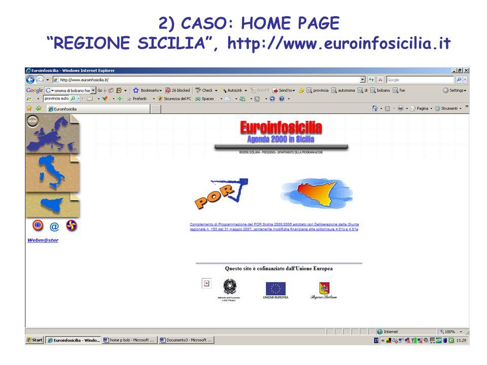 2) CASO: HOME PAGE REGIONE SICILIA , http://www.euroinfosicilia.it