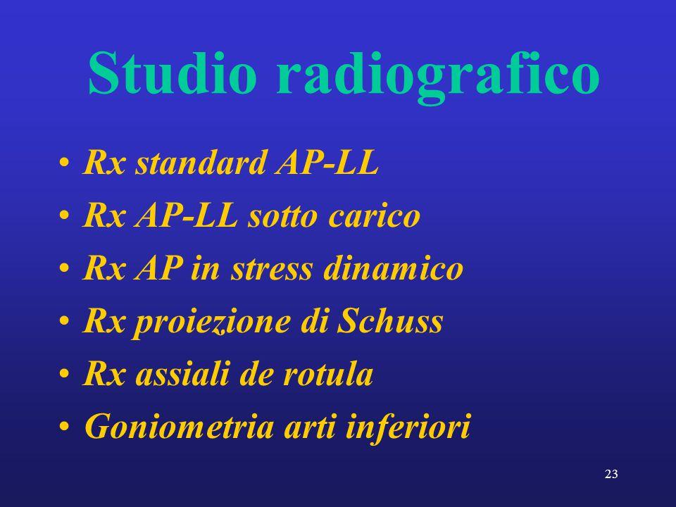 23 Studio radiografico Rx standard AP-LL Rx AP-LL sotto carico Rx AP in stress dinamico Rx proiezione di Schuss Rx assiali de rotula Goniometria arti