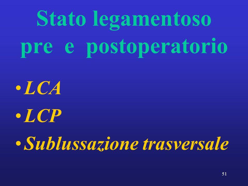 51 Stato legamentoso pre e postoperatorio LCA LCP Sublussazione trasversale
