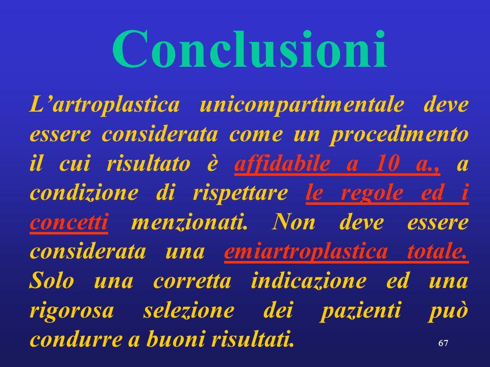 67 Conclusioni L'artroplastica unicompartimentale deve essere considerata come un procedimento il cui risultato è affidabile a 10 a., a condizione di