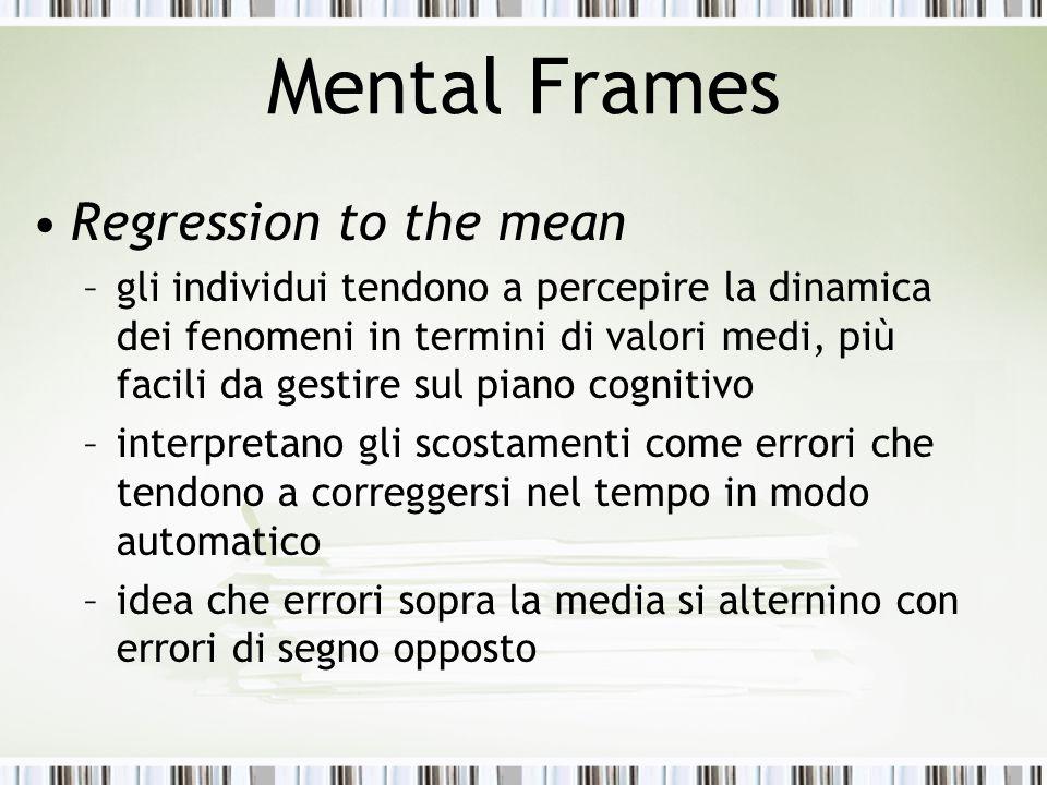 Mental Frames Regression to the mean –gli individui tendono a percepire la dinamica dei fenomeni in termini di valori medi, più facili da gestire sul