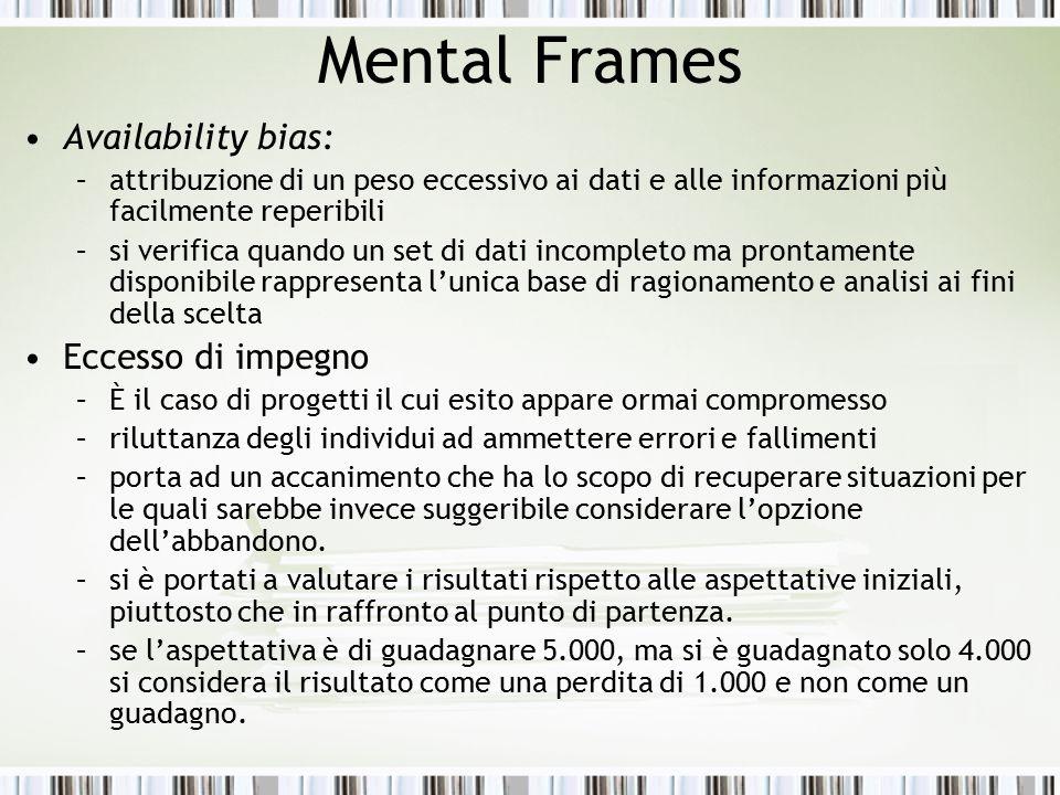 Mental Frames Availability bias: –attribuzione di un peso eccessivo ai dati e alle informazioni più facilmente reperibili –si verifica quando un set d
