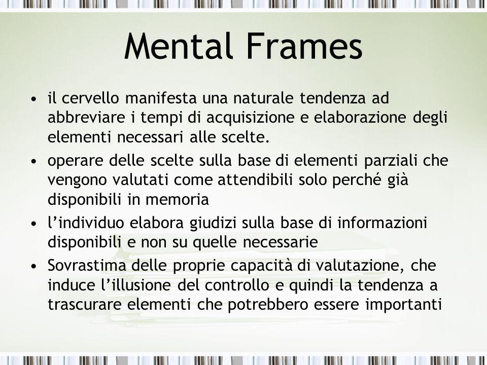 Mental Frames il cervello manifesta una naturale tendenza ad abbreviare i tempi di acquisizione e elaborazione degli elementi necessari alle scelte. o