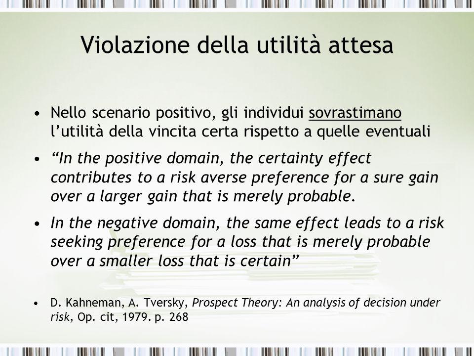 """Violazione della utilità attesa Nello scenario positivo, gli individui sovrastimano l'utilità della vincita certa rispetto a quelle eventuali """"In the"""