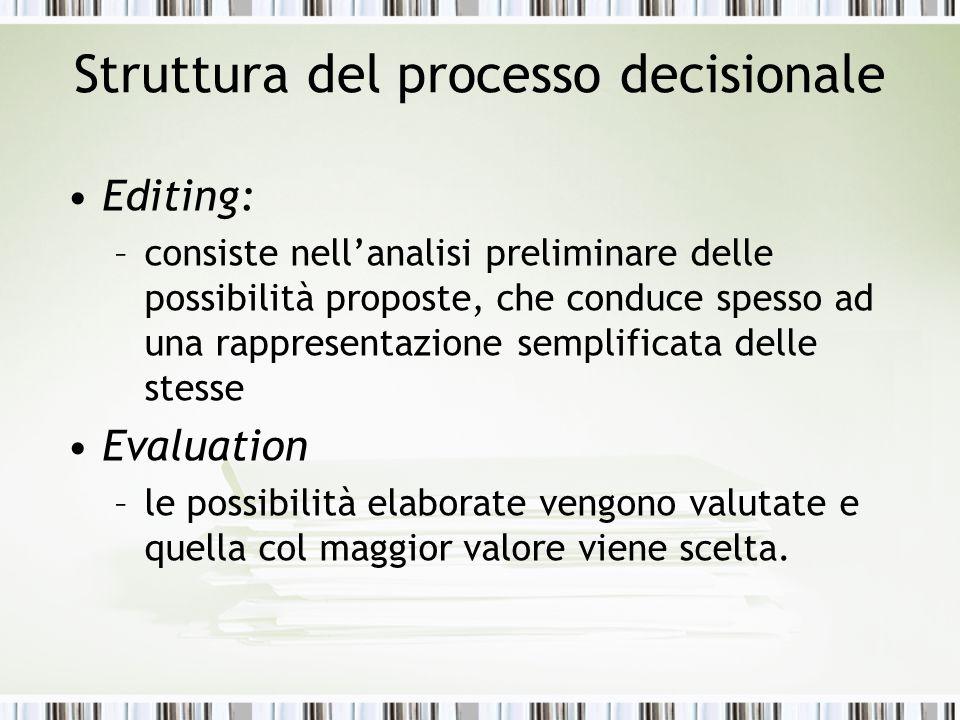 Struttura del processo decisionale Editing: –consiste nell'analisi preliminare delle possibilità proposte, che conduce spesso ad una rappresentazione
