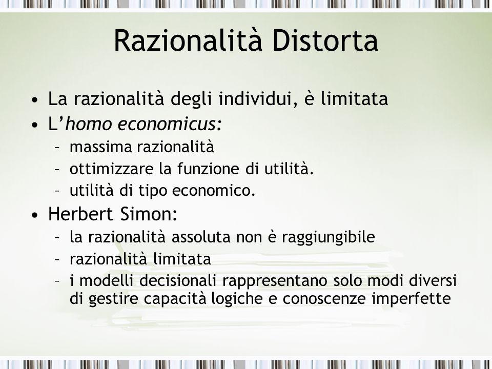 Razionalità Distorta La razionalità degli individui, è limitata L'homo economicus: –massima razionalità –ottimizzare la funzione di utilità. –utilità