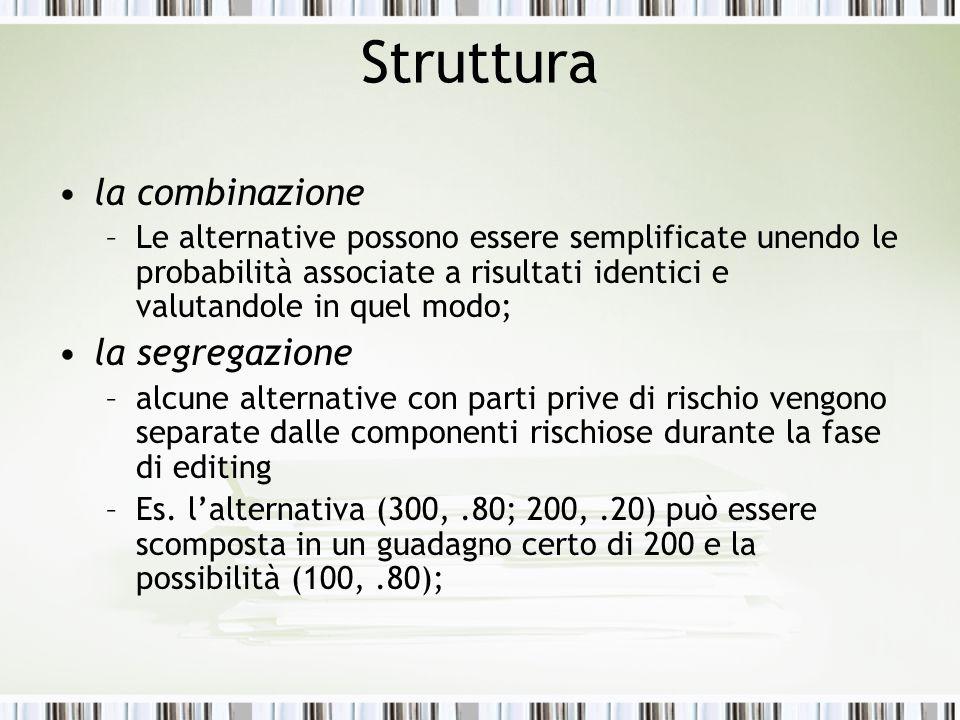 Struttura la combinazione –Le alternative possono essere semplificate unendo le probabilità associate a risultati identici e valutandole in quel modo;