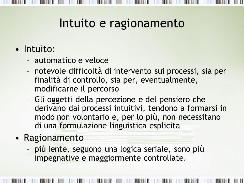 Intuito e ragionamento Intuito: –automatico e veloce –notevole difficoltà di intervento sui processi, sia per finalità di controllo, sia per, eventual